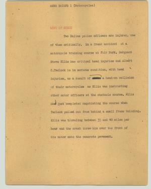 Primary view of object titled '[News Script: News Briefs - Motorcycles]'.