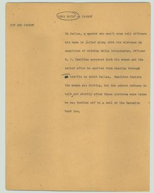 Primary view of object titled '[News Script: News briefs - Parrot and flower show]'.