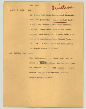 Primary view of object titled '[News Script: Air mail]'.