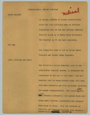 Primary view of object titled '[News Script: Commissioners inspect hospital]'.