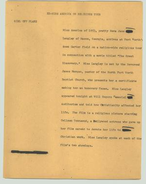 Primary view of object titled '[News Script: Ex-Miss America on religious tour]'.