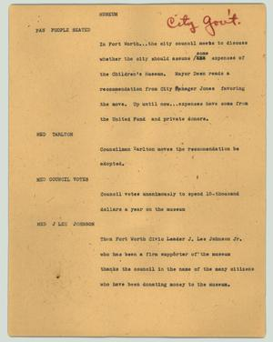 Primary view of object titled '[News Script: Museum]'.