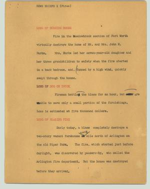 Primary view of object titled '[News Script: Fires]'.