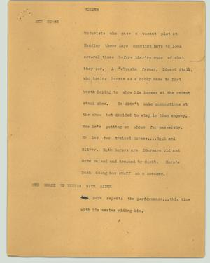 Primary view of object titled '[News Script: Horses]'.