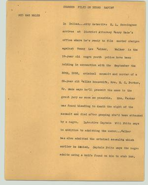 Primary view of object titled '[News Script: Charges filed on negro rapist]'.