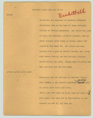 Primary view of object titled '[News Script: Mustangs swamp Rams 105 to 70]'.