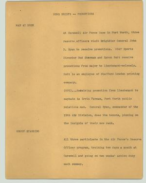 Primary view of object titled '[News Script: News briefs - promotions]'.