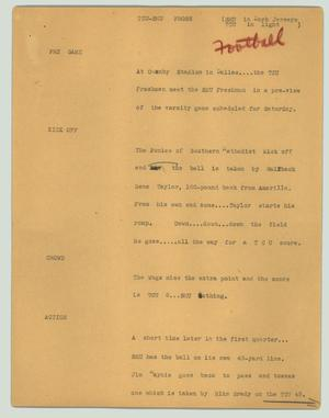 Primary view of object titled '[News Script: TCU-SMU frosh]'.