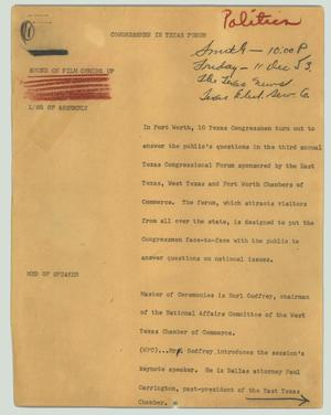 Primary view of object titled '[News Script: Congressmen in Texas forum]'.