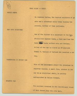 Primary view of object titled '[News Script: News brief -- wreck]'.