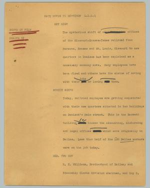 Primary view of object titled '[News Script: Katy moves to Dennison]'.