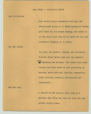 Primary view of object titled '[News Script: News brief - Recreation center]'.