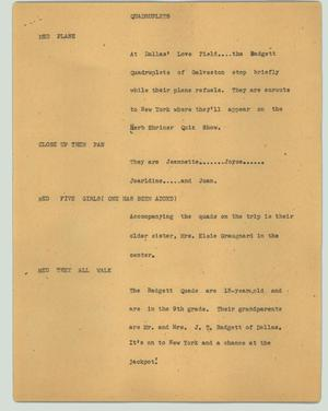 Primary view of object titled '[News Script: Quadruplets]'.
