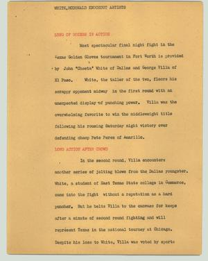Primary view of object titled '[News Script: White, McDonald knockout artists]'.