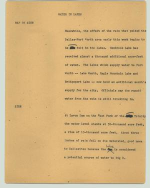 Primary view of object titled '[News Script: Water in lakes]'.