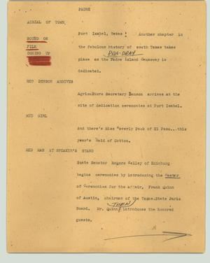 Primary view of object titled '[News Script: Padre]'.