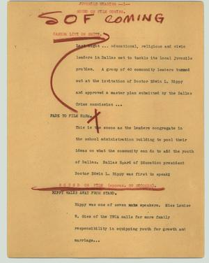 Primary view of object titled '[News Script: Juvenile hearing]'.