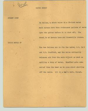 Primary view of object titled '[News Script: Water break]'.