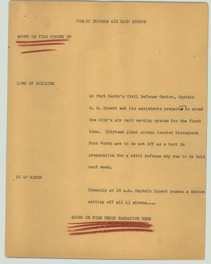 Primary view of object titled '[News Script: Public ignores air raid sirens]'.