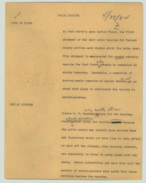 Primary view of object titled '[News Script: Polio vaccine]'.