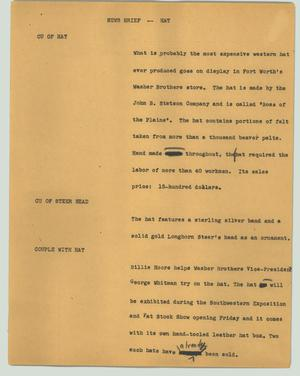 Primary view of object titled '[News Script: News brief -- hat]'.
