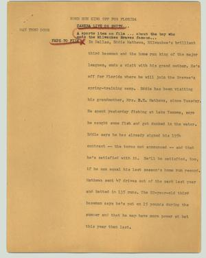 Primary view of object titled '[News Script: Home run king off for Florida]'.