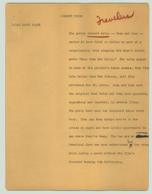 Primary view of object titled '[News Script: Corbett twins]'.