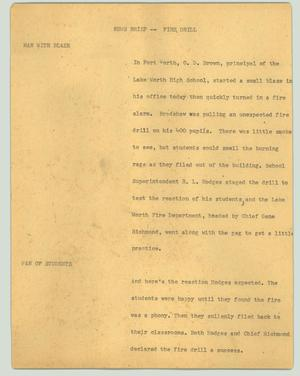 Primary view of object titled '[News Script: Fire drill]'.