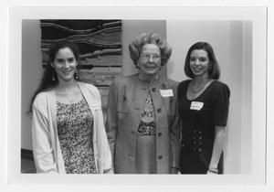 Primary view of object titled '[Woodruff Scholarship recipients Leigh Daniels and Jennifer Willilams with Mrs. Grace Cartwright]'.