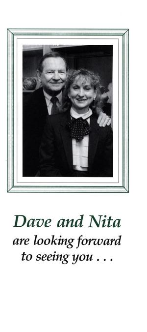 Primary view of object titled 'Brochure: Dave and Nita are Looking Forward to Seeing You'.