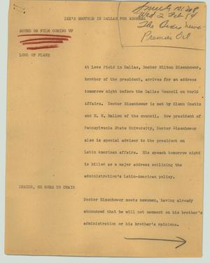 Primary view of object titled '[News Script: Ike's brother in Dallas for address]'.