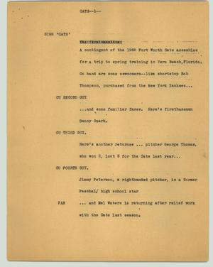 Primary view of object titled '[News Script: Cats]'.