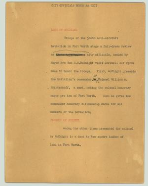 Primary view of object titled '[News Script: City officials honor AA unit]'.