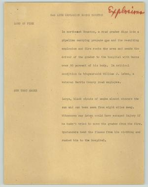 Primary view of object titled '[News Script: Gas line explosion rocks Houston]'.