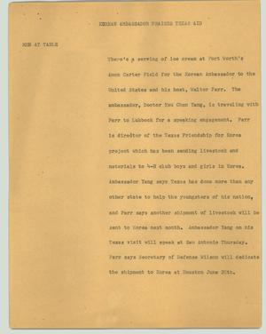 Primary view of object titled '[News Script: Korean ambassador praising Texas aid]'.