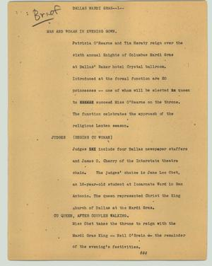 Primary view of object titled '[News Script: Dallas Mardi Gras]'.