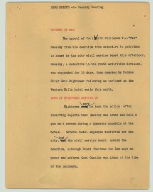 Primary view of object titled '[News Script: News briefs - Cassidy hearing]'.