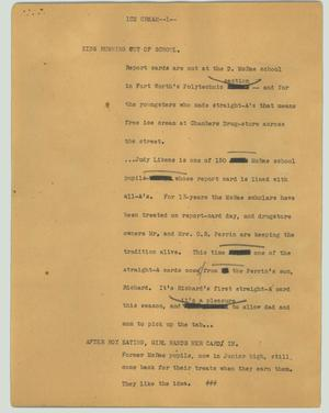 Primary view of object titled '[News Script: Ice cream]'.