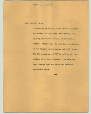 Primary view of object titled '[News Script: Safe]'.