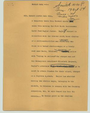 Primary view of object titled '[News Script: Hagler case]'.
