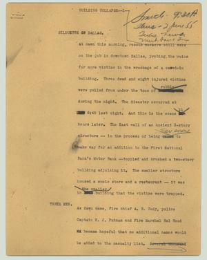 Primary view of object titled '[News Script: Building collapse]'.