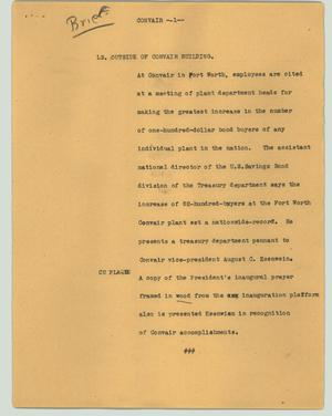 Primary view of object titled '[News Script: Convair]'.