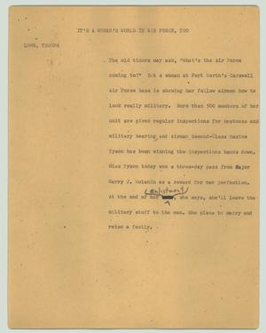 Primary view of object titled '[News Script: It's a woman's world in the Air Force, too]'.