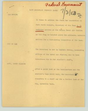 Primary view of object titled '[News Script: Navy secretary inspects bases]'.