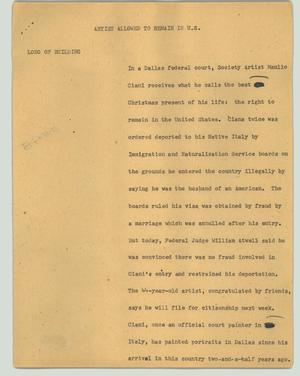 Primary view of object titled '[News Script: Artist allowed to remain in U.S.]'.