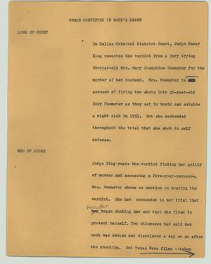 Primary view of object titled '[News Script: Woman convicted in mate's death]'.