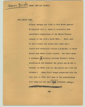 Primary view of object titled '[News Script: Breen (the old robber)]'.