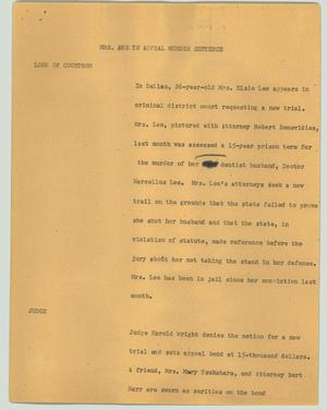 Primary view of object titled '[News Script: Mrs. Lee to appeal murder sentence]'.