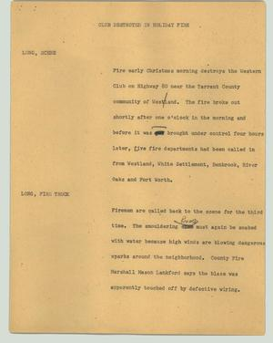 Primary view of object titled '[News Script: Club destroyed in holiday fire]'.