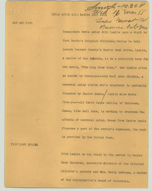 Primary view of object titled '[News Script: Texas actor aids Easter Seal sale]'.